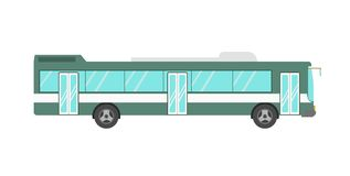 Green colored bus isolated on white. Vector illustration of big green colored public bus on the white background Stock Photo