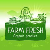 Green colored farm fresh product label Stock Image