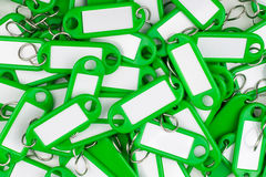 Green colored key rings Stock Images