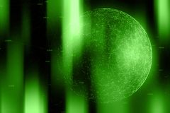 Green colored network sphere background. Green colored network cyberspace with numbers, lines and dots illustration. View from space. Selective focus used Royalty Free Stock Photo
