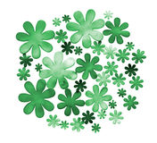 Green colored paper flowers isolated Stock Images