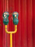 Green colored parking meter. Stock Image