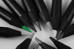 Green colored pencils Stock Image