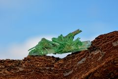 Green colored plaster - Crystal Stock Photo