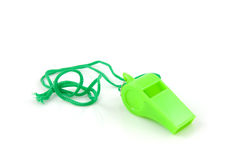 Green colored plastic whistle Stock Photography