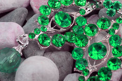Green colored precious stone jewellery Stock Photos