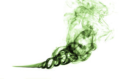 Green colored smoke in white background Stock Images