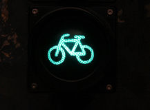 Green colored traffic light with bike sign for cyclists close up Royalty Free Stock Images