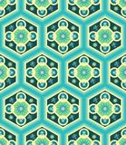 Green colorful decorated hexagons pattern tile with decorative floral elements. Green colorful hexagons pattern tile with floral and decorative stars elements royalty free illustration