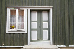 Green Colorful Door and Window in Old House Royalty Free Stock Photography