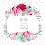 Green colorful succulents vector design square frame. Echeveria, protea, camellia, rose, eucalyptus, burgundy red peony, hydrangea. Stylish diamonds texture Stock Photos