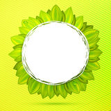 Green colors abstract floral label Stock Image