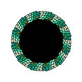 Green colors hand drawn mandala wreath with black center snake skin style vector illustration