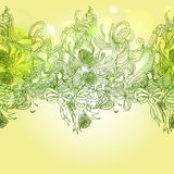 Green colors  romance background with bird and floral elements Royalty Free Stock Photo