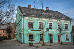 Green colour Building. Bright green colour Building. shot taken in Kandava, Latvia. Kandava is a small town with little population Royalty Free Stock Images