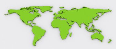 Green colour 3D extruded World Map. A green color flat world map extruded in 3d with shadow on a grey background Royalty Free Stock Photography
