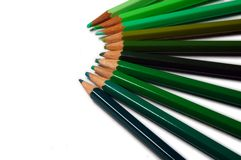 Green Colour Pencils. Colour pencils in different shades of green Stock Images