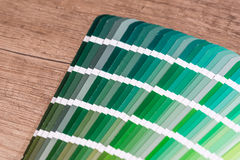 Green colour sample chart Royalty Free Stock Photo