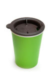 Green colour take-out coffee mug Royalty Free Stock Photography
