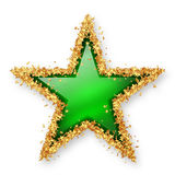 Green Coloured Gemstone Star with Golden Starlet Border. Green Coloured Gemstone Star with Spangled Golden Starlet Border. White Background with Smooth Shadow royalty free illustration