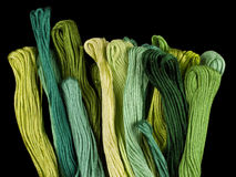 Green coloured yarns. Bound together on a black background Stock Photos
