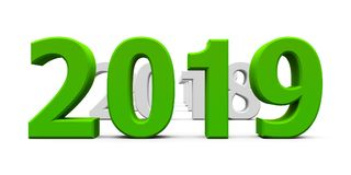 Green 2019 come. Represents the new year 2019, three-dimensional rendering, 3D illustration Royalty Free Stock Image