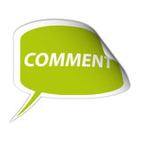 Green comment sticker. Illustration of green comment sticker with peeled corner, white background Stock Photography