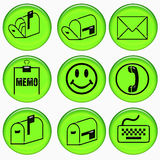 Green communication buttons Stock Images