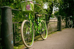 Green Commuter Bike Park in a Green Metal Grill Royalty Free Stock Photography