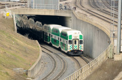 Green commuter train Stock Image