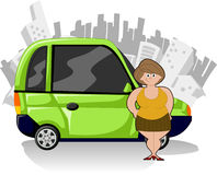 Green compact car. Chubby cartoon woman with green compact car and city on the background Stock Images