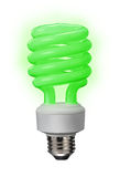Green compact fluorescent bulb Stock Images
