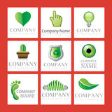 Green Company Logos. An illustrated set of green eco-friendly company logos Stock Image