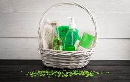 Free Green Composition Beauty Treatment Products In Green Colors: Shampoo, Soap, Bath Salt, Oil. Royalty Free Stock Image - 103948426