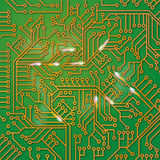 Green computer board with wiring. Green computer board with electric wiring Stock Images