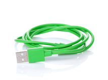 Green computer cable Stock Photo