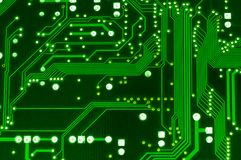 Green computer circuit board . Royalty Free Stock Images