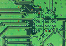 Green Computer circuit board. Macro of  computer circuit board Royalty Free Stock Photos