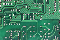 Green Computer circuit board. Macro of  computer circuit board Royalty Free Stock Photography