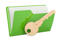 Green computer folder icon with key, 3D rendering. Isolated on white background Stock Image