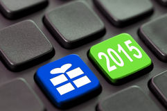 2015 on a green computer key Royalty Free Stock Photos