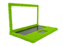 Green computer laptop of grass 3D. on white. Background stock illustration