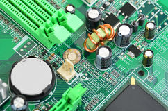 Green computer motherboard Stock Images