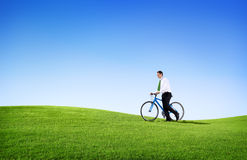 Green Concept Business Man Cycling Bicycle Outdoors Stock Images