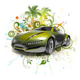 Green concept car Stock Image