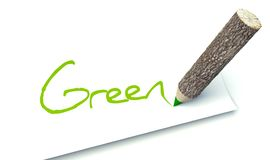 Green concept, ecology wooden pencil tree trunk Stock Photo