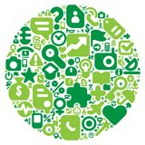 Green concept of human world. Human world concept. Planet Earth made of 100 icons set in green colors royalty free illustration
