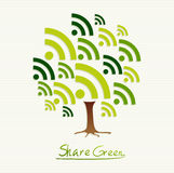 Green concept share icon tree Royalty Free Stock Image