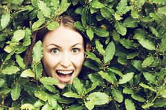 Green concept. Smiling happy face with plants. Green concept. Filtered image Stock Photos