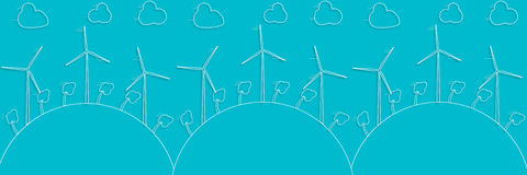 Green concept - wind energy. Winds generators - 3d vector style. Element of design or infographic. Alternative power energy technology. Green energy Stock Photography